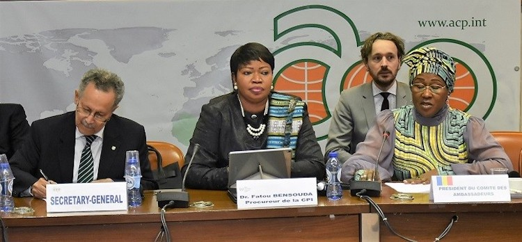 Photo (left to right): ACP Secretary General Dr Patrick I Gomes; ICC Prosecutor Dr Fatou Bensouda; and Ambassador Ammo Aziza Baroud of Chad, Chair of the ACP Committee of Ambassadors. Credit: ACP Press.